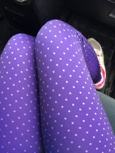 "My purple ""make us run fast"" pants."